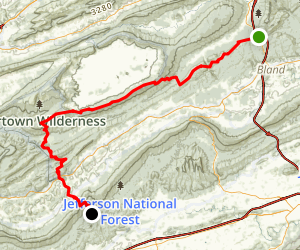 Garden Mountain, Chestnut Ridge, and Brushy Mountain via Appalachian Trail Map