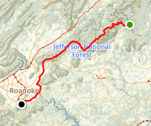 The Blue Ridge Parkway: James River to Roanoke Mountain Map