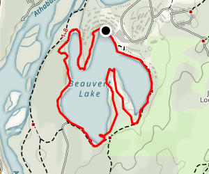 Jasper Park Lodge and Beauvert Lake Loop Trail Map