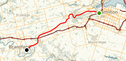 Hamilton to Brantford Rail Trail Map