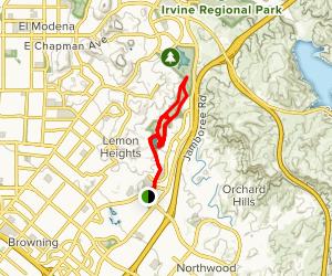 Lower Peters Canyon Trail Loop Via Citrus Ranch Park Map