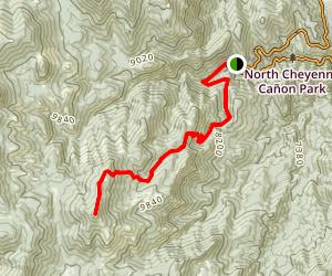 Cheyenne Canyon to Mount Rosa Map