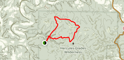 Hercules Glades West Trailhead to Upper Pilot Knob Map