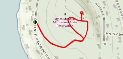 Myles Standish Monument Road Loop to Captains Hill Map