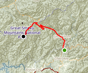 Cherokee to Clingmans Dome Map