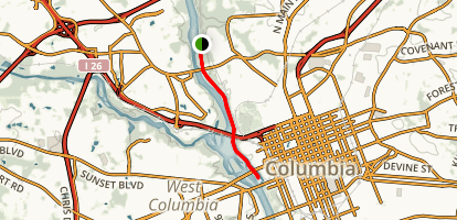 Columbia Canal and Broad River Via River Trail  Map