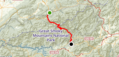 Newfound Gap Road: Gatlinburg to Cherokee Map