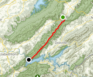 Appalachian Trail: Tennessee State Route 91 to Watauga Dam Map