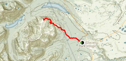 Mount Henry Trail and Scenic Point via East Glacier Park Village Map