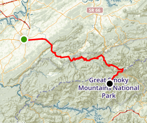 Great Smoky Mountains Scenic Drive: Maryville to Clingmans Dome Map