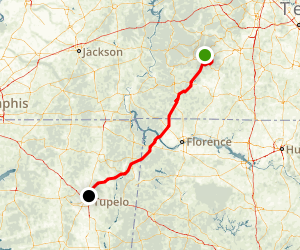 Natchez Trace: Nashville to the Mississippi State Line Map