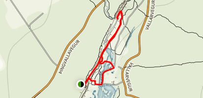 Öxarárfoss Waterfall Trail Map