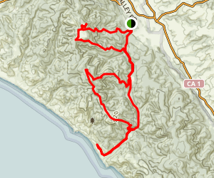 Bear Valley, Meadow Trail, and Old Pine Trail to the Coast Map