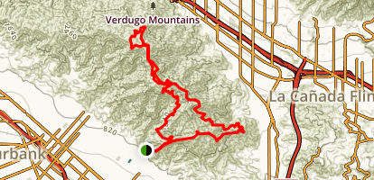 Verdugo Crest Trail and Beaudry Trail Loop Map