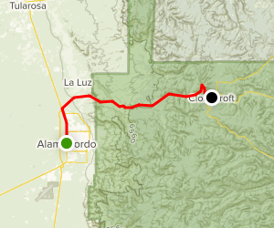 Cloudcroft: Alamogordo to Cloudcroft Map