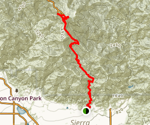 Mount Wilson via Little Santa Anita Canyon Map