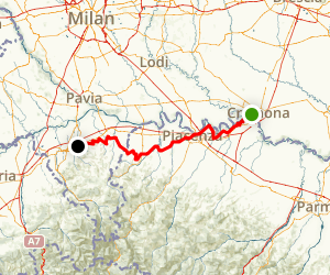 Cremona to Casteggio Map