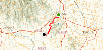 Vicenza to Lonigo Bike Route Map