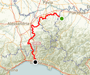 Albareto to Genoa Bike Route Map
