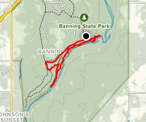 Kettle River: Banning State Park to Old Dam Site Map