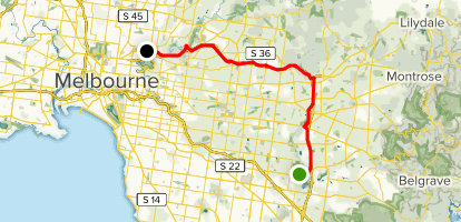 Jell's Park to Yarra via Eastlink Path Map