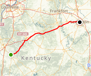 Bluegrass Parkway: Lincoln's Birthplace to Lexington Map