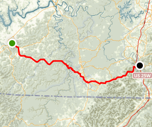 Monticello to Williamsburg: Along KY 92 Map