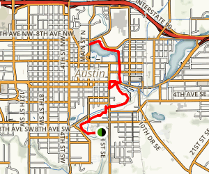 Cedar River Trail from Marcusen Park to Horace Austin Park Map