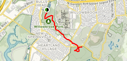 Willowbrook Park to Nature Center Map