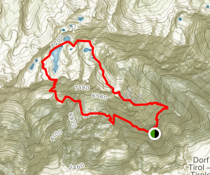 Merano, Mount Muta, and Sopranes Lakes Loop Map