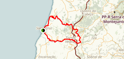 Santa Cruz to Torres Vedras Mountain Bike Loop Map