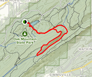 Oak Mountain Tranquility Lake and White Trail Loop Map