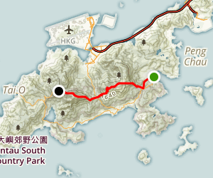 Sunset Peak and Lantau Peak via Mui Wo Map