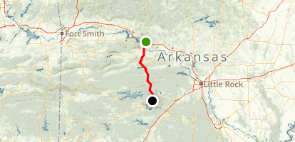 Scenic 7 Byway South: Russellville to Hot Springs Map