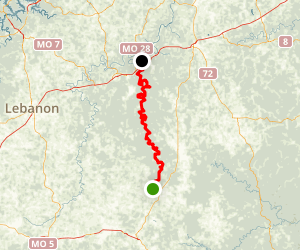 Big Piney River: Dog Bluff to Gasconade River Map