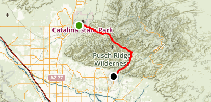 Sabino Canyon to Catalina State Park Map