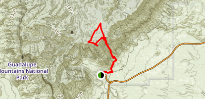 Frijole and Bear Canyon to the Bowl and Hunter Peak Map