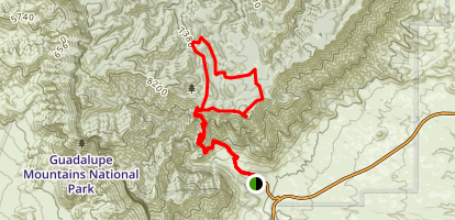 Tejas Trail, Juniper Trail to the Bowl and Hunter Peak Map