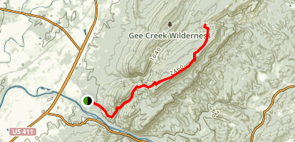 Chestnut Moutain Trail to Iron Gap Map