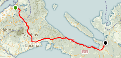 4 Day Laguna to Legaspi Bike Trip - Day 1 (Pagsanjan to Calauag) Map