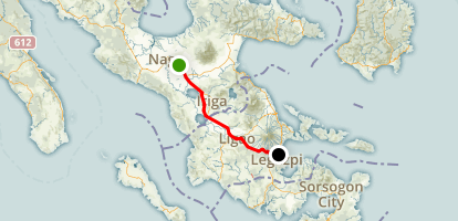 4 Day Laguna to Legaspi Bike Trip - Day 4 (Pili to Legaspi City) Map