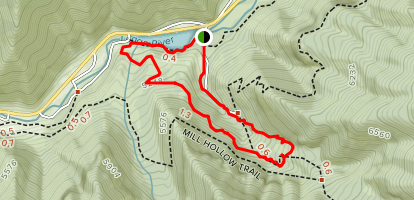 Spring Hollow Trail To Bridger Overlook Trail Down To River Trail Back To Spring Hollow. Map