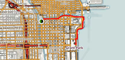Chicago Riverwalk to Grant Park Map