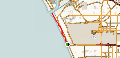 South Bay Bike Trail via Dockweiler Beach Map