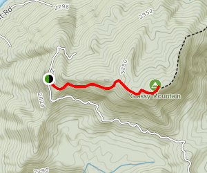 Glassy Mt. Road to Fire Tower Map