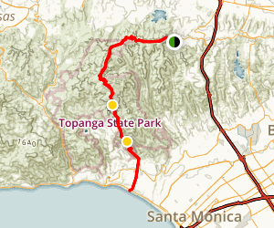 Temescal Canyon Road to the Beach Map