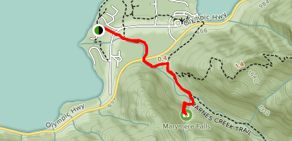 Marymere Falls Trail from Lake Crescent Lodge Map