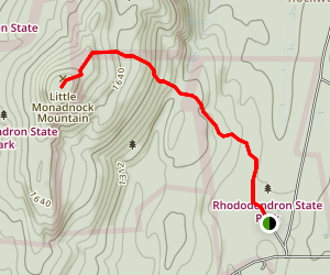 Rhododendron State Park, Little Monadnock Mountain Trail Map