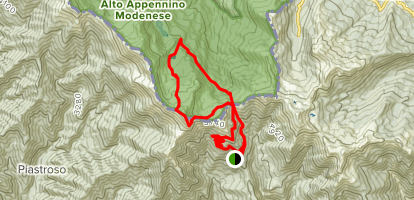 Mount Rondinaio and Baccio Lake Loop Map