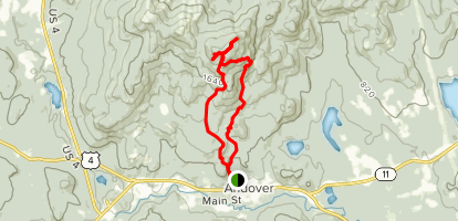 Ragged Mountain from Andover Map